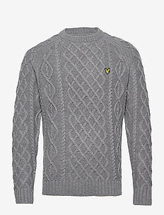 Heavy Cable Knit Crew Neck - rundhals - mid grey marl