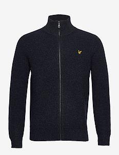 Knitted RIB Zip Through Cardigan - basic gebreide truien - dark navy marl