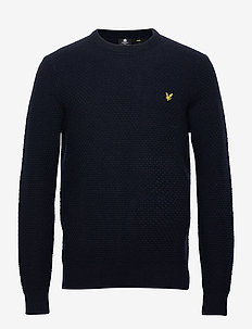 Basket Weave Knitted Jumper - basic strik - dark navy