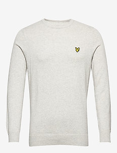 Cotton Merino Crew Jumper - basic knitwear - light grey marl