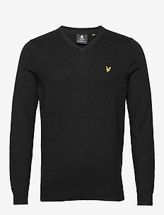 Cotton Merino V Neck Jumper - JET BLACK