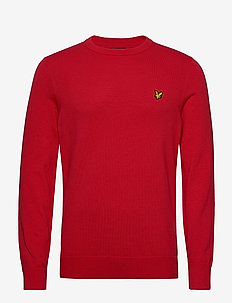 Cotton Crew Neck Jumper - basic knitwear - gala red