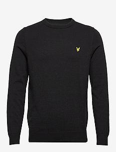 Cotton Crew Neck Jumper - basic knitwear - jet black