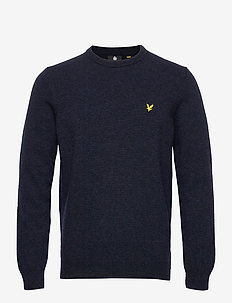 Crew Neck Lambswool Blend Jumper - basic strik - dark navy marl