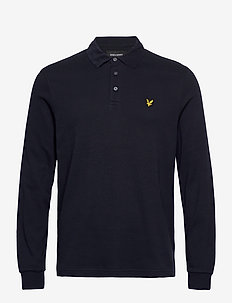 Cord Collar Long Sleeve Polo - langärmelig - dark navy