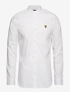 Slim Stretch Grandad Shirt - WHITE