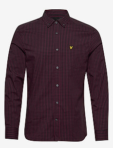 LS Slim Fit Gingham Shirt - koszule w kratkę - dark navy/merlot