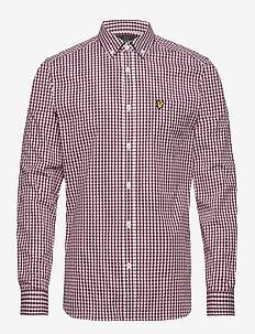 LS Slim Fit Gingham Shirt - koszule w kratkę - merlot/white