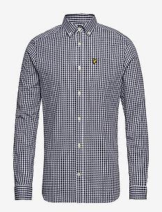 LS Slim Fit Gingham Shirt - checkered shirts - navy/white