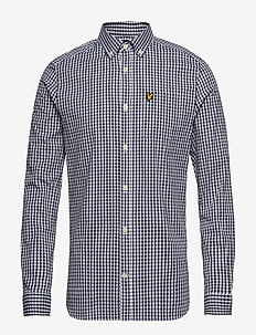 LS Slim Fit Gingham Shirt - NAVY/WHITE
