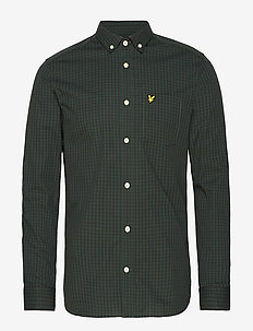 LS Slim Fit Gingham Shirt - geruite overhemden - true black/jade green