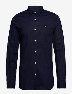 LS Slim Fit Poplin Shirt - basic shirts - navy