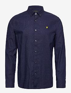 Cotton Linen Shirt - chemises de lin - navy