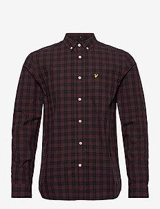 Check Poplin Shirt - koszule casual - jet black/ burgundy check