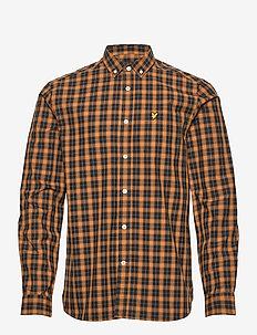 Check Poplin Shirt - casual hemden - caramel/ jet black check