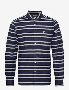 Double Stripe Brushed Shirt - casual skjortor - navy/ vanilla ice