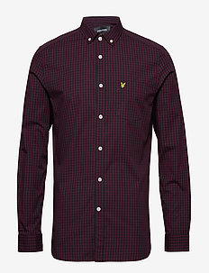 LS Slim Fit Gingham Shirt - TRUE BLACK