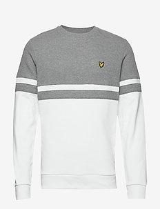 Panel Stripe Crew Neck Sweatshirt - MID GREY MARL/ WHITE