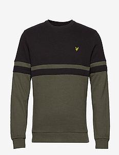 Panel Stripe Crew Neck Sweatshirt - svetarit - true black/olive
