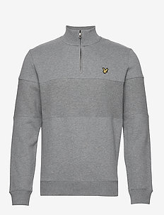 Contrast Panel Funnel Neck - MID GREY MARL