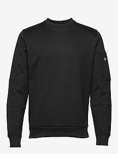 Sleeve Pocket Crew Neck Sweatshirt - TRUE BLACK