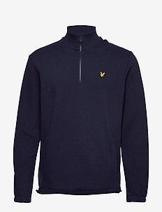 1/4 Zip Pique Sweatshirt - NAVY