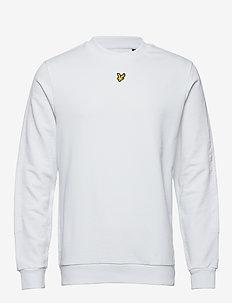 Fabric Mix Crew Neck Sweatshirt - basic sweatshirts - white