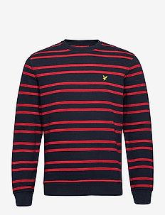 Double Stripe Sweatshirt - sweats - dark navy/ chilli pepper red