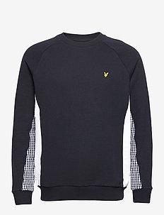 Gingham Cut and Sew Sweatshirt - sweats basiques - dark navy