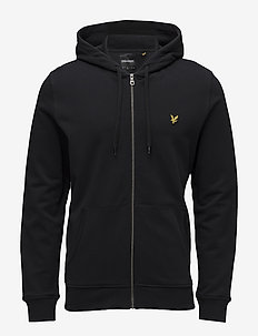 Zip Through Hoodie - TRUE BLACK