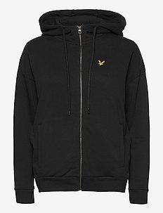 Hooded Zip Through Sweatshirt - hoodies - jet black