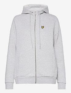 Hooded Zip Through Sweatshirt - hupparit - light grey marl