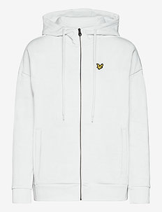Hooded Zip Through Sweatshirt - hoodies - white