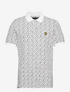 Print Polo Shirt - WHITE MICRO TILE PRINT