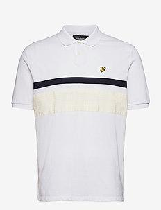 Gingham Yoke Stripe Polo Shirt - kortærmede - white