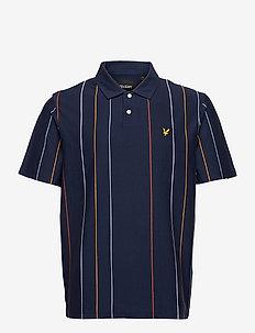 Vertical Stripe Polo Shirt - kortærmede - navy
