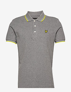 Tipped Polo Shirt - short-sleeved polos - mid grey marl/ buttercup yellow