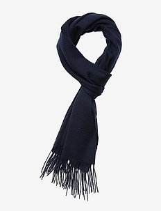 Plain lambswool scarf - DARK NAVY