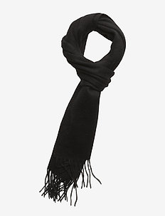 Plain lambswool scarf - TRUE BLACK