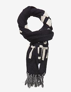 Knit Wording Scarf - schals - dark navy