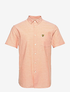 Short Sleeve Light Weight Slub Oxford Shirt - chemises oxford use default - melon/ white