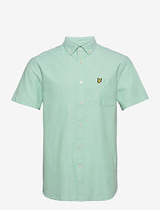 Short Sleeve Light Weight Slub Oxford Shirt - chemises oxford use default - sea mint/ white