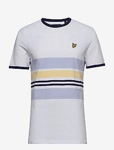 Pique Stripe Ringer T-shirt - WHITE