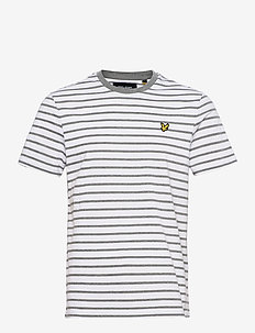 Breton Stripe T-shirt - korte mouwen - mid grey marl/ white