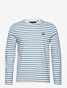 LS Crew Neck Bretton Stripe Tshirt - SNOW WHITE/CORNFLOWER BLUE