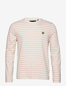 LS Crew Neck Bretton Stripe Tshirt - SNOW WHITE/CORAL WAY
