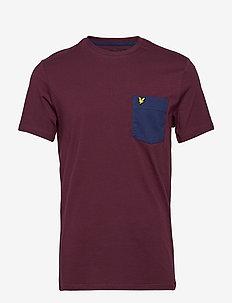 Contrast Pocket T Shirt - t-shirts à manches courtes - burgundy/navy