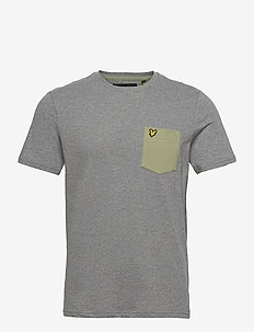 Contrast Pocket T Shirt - kortærmede t-shirts - mid grey marl/ moss