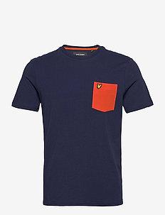Contrast Pocket T Shirt - kortærmede t-shirts - navy/ burnt orange