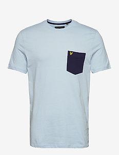 Contrast Pocket T Shirt - t-shirts à manches courtes - pastel blue/ navy